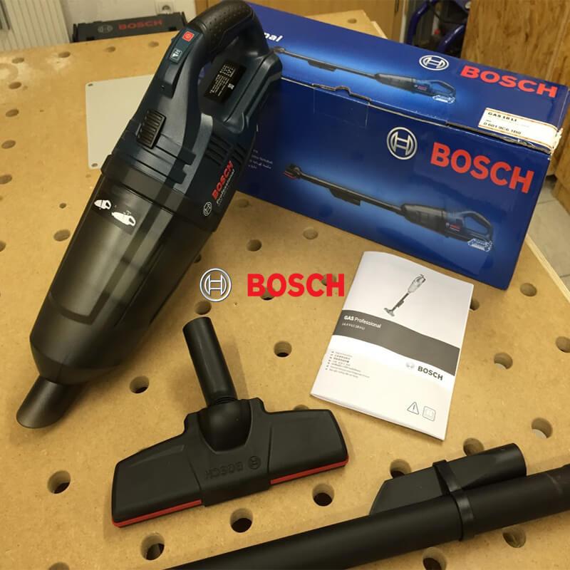 Trọn bộ sản phẩm máy hút bụi dùng pin Bosch Gas 18V-LI