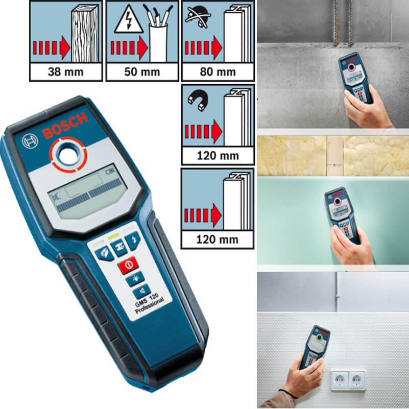Bosch GMS 120 có thể dò được các vật liệu kim loại từ tính, kim loại không từ tính, dây dẫn điện, gỗ